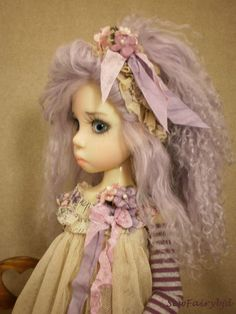 BJD Lavender Wavy Mohair Wig for Kaye Wiggs MSD or SD | eBay