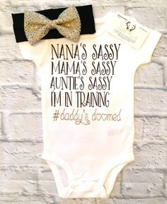 A personal favorite from my Etsy shop https://www.etsy.com/listing/511236369/baby-girl-clothes-sassy-bodysuits-sassy