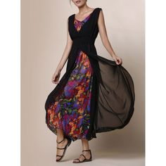 Bohemian Style V-Neck Printed Faux Twinset Sleeveless Maxi Dress For Women…