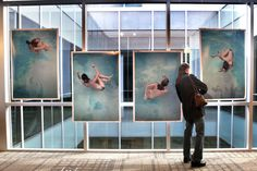 GRAND RAPIDS.- Artist Dana Freeman checks her ArtPrize piece Between the Conscious and the Unconscious after Kabir at the Cathedral Square exhibition center in Grand Rapids, Mich. AP Photo/The Press of Atlantic City, Chris Clark.