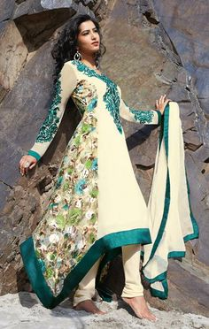 USD 51.74 Off White Embroidery Designer Salwar Kameez 29820