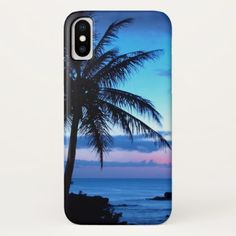 Tropical Island Beach Ocean Pink Blue Sunset Photo iPhone X Case -nature diy customize sprecial design
