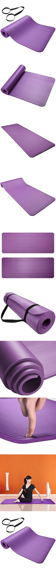 """AW Yoga Purple Exercise Mat 0.31""""/8mm Thick NBR Anti-Slip w/ Carrying Strap Sport Comfort Foam"""
