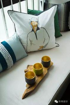 Fur Bedding, Linen Bedding, Curtain Fabric, Fabric Art, Master Room, Night Table, Bay Window, Cushions, House Design