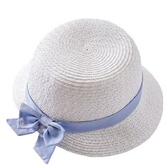 e12bff70626ac Connectyle Kids Fashion Lovely Summer Straw Hat Cap Bowknot Beach Sun  Protection Hats for Girls White