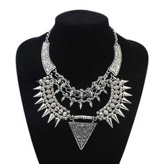 New Personality Exaggerated Spike Steam Punk Necklace Women Kolye Vintage Silver Shourouk Statement Necklaces Pendants 2015