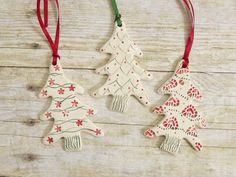 Ceramic Christmas Tree Ornament Set of Three by MyMothersGarden, $15.00