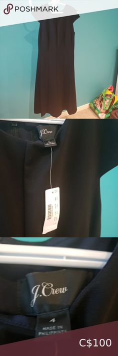 J.Crew A-Line Cap Sleeve Midi Dress Brand New With Tags! Description --- J.Crew A-Line Structured Ponte Midi Dress Capped Sleeves Black Measurements --- Size 4 Length: 42 inches Bust: 17 inches Waist: 14 inches J. Crew Dresses Midi