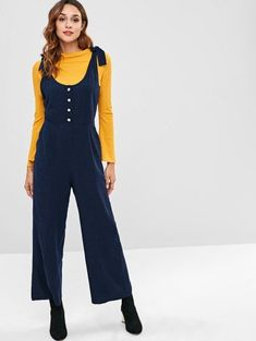 7b4062eb5bd2 ZAFUL Knots Half Buttoned Wide Leg Jumpsuit. Trendy FashionFashion Models Womens ...