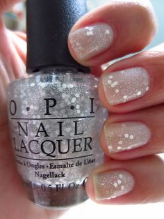 OPI Pirouette My Whistle over OPI My Pointe Exactly...looks like snow