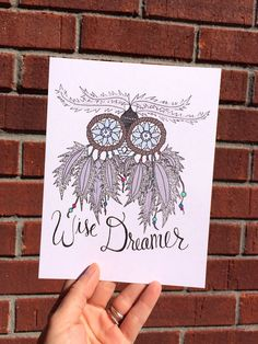 Whimsical Owl Home Decor - Dreamcatcher Illustration - quote customizeable on Etsy, $20.00