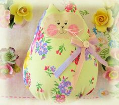 Cat  Doll 6 inch Free Standing Kitty Light Lime by CharlotteStyle, $15.00