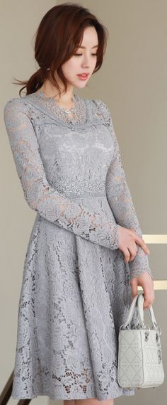 StyleOnme_Lily Lace Motif Flared Dress #elegant #lace #floral #koreanfashion #kstyle #kfashion #datelook #springtrend
