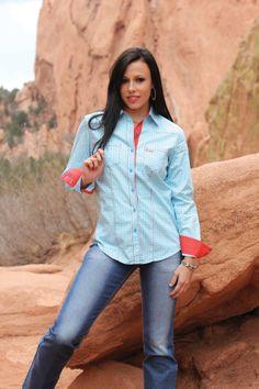 CRUEL GIRL Light Blue/Red Print Button Down Shirt CTW9280001 AST