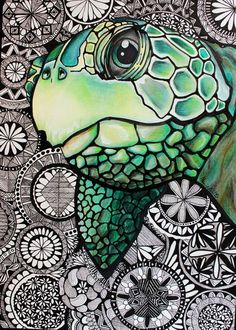 Zentangle Inspired Art made with Sakura of America Pigma Micron pens Turtle drawing made with color pencils by Faber Castell Schildino Dibujos Zentangle Art, Zentangle Drawings, Zentangle Patterns, Art Drawings, Zentangles, Zentangle Animal, Zentangle Art Ideas, Art Zen, Zantangle Art