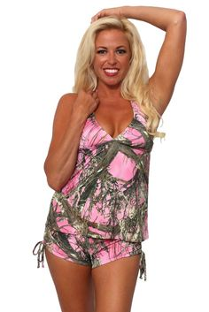 Women's 2-Piece Camo Bikini True Timber Tankini Top & String Shorts Beach Swimwear Swimsuit
