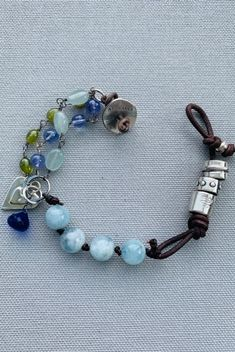 West Coast Jewelry Sterling Silver Aventurine Blue Quartz and Freshwater Cultured Pearl Bracelet 7.75 Inches Long