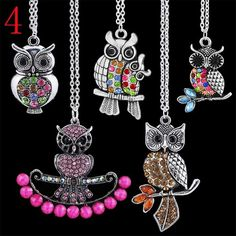 'YOU CHOOSE A SET OF OWL NECKLACES' is going up for auction at  4pm Mon, Jun 10 with a starting bid of $8.