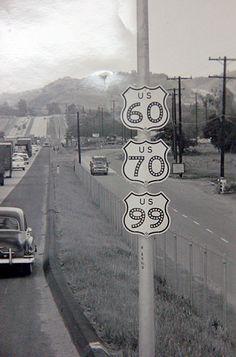 California - U. S. highway 99, U. S. highway 70, and U. S. highway 60 sign.