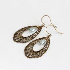 Antique Filligree Brass and Czech Glass Drop Dangle Earrings