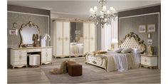 Italia Bútor - Tatjana klasszikus olasz hálószoba garnitúra, bézs színben 30% kedvezménnyel és ingyen ágyráccsal!