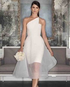 Romona Keveza Fall 2017 Wedding Dress Collection | Martha Stewart Weddings – Pearl wedding dress made of 5-ply silk crepe features a one-shoulder asymmetrical neckline and waltz-length illusion overskirt.