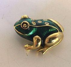 Vintage Cute Goldtone Green Enamel Rhinestone Frog Brooch Pin Petite Novelty  #Unbranded