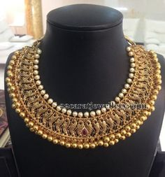 Tussi Style Peacock Gold Choker - Jewellery Designs