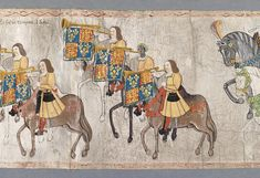 A scene from the Westminster Tournament Roll, showing John Blanke, an African trumpeter who worked for Henry VIII.