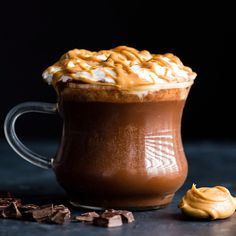 This healthy Homemade Peanut Butter Hot Chocolate Recipe is creamy, chocolatey and bursting with peanut butter flavor! It's vegan, dairy-free, and gluten-free with a refined sugar-free option (but can Peanut Butter Hot Chocolate Recipe, Homemade Peanut Butter, Homemade Hot Chocolate, Hot Chocolate Recipes, Chocolate Desserts, Baking Chocolate, Chocolate Chocolate, Sugar Free Hot Chocolate, Healthy Hot Chocolate
