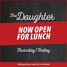 Now serving lunch Thursdays & Fridays