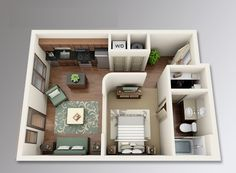 We feature 50 studio apartment plans in perspective. For those looking for small space apartment plans, your search ends here. Studio Apartment Floor Plans, Condo Floor Plans, Studio Floor Plans, Apartment Plans, Small House Plans, Apartment Layout, One Bedroom Apartment, Apartment Design, Espace Design