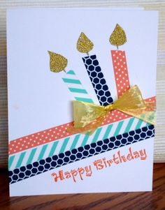 CAS Birthday by – Cards and Paper Crafts at Splitcoaststampers CAS Birthday card … washi tape diagonal lines wirh three candles created with the same tapes … touches of gold with glitterpaper flamees and plastic faffia bow … one layer … Handmade Birthday Cards, Happy Birthday Cards, Birthday Diy, Birthday Card Making, Diy Washi Tape Birthday Cards, Card Ideas Birthday, Birthday Cake, Diy Washi Tape Cards, Easy Diy Birthday Cards