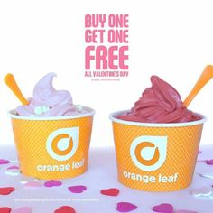 Orange Leaf buy one get one free deal, Valentine's Day 2016 Free Deals, Orange Leaf, Buy One Get One, Valentines Day, Ice Cream, Leaves, Photo And Video, Tableware, Instagram
