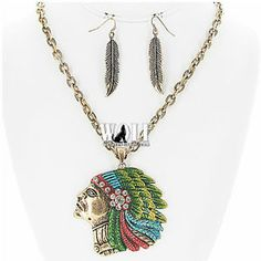 New Western Cowgirl Indian Chief Head Bling Women's Necklace Earring Set A | eBay