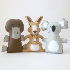Australian Animal Softie PATTERNS // Sew by Hand // LittleHibouShoppe, $10.00