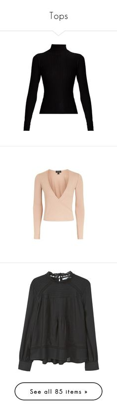 """""""Tops"""" by juliietteprt ❤ liked on Polyvore featuring tops, sweaters, black, roll neck top, long sleeve stretch top, roll neck sweater, ribbed knit sweater, ribbed knit top, coral and wrap style top"""