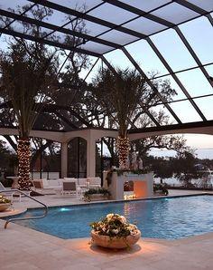 Stylish screened enclosure surrounds the pool - Decoist