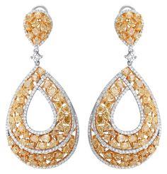 Tasha R natural yellow diamond earrings