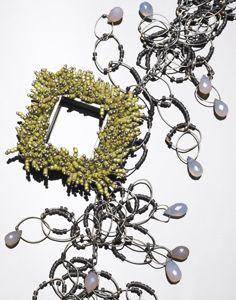 Karen Gilbert, sterling silver, glass beads, chalcedony