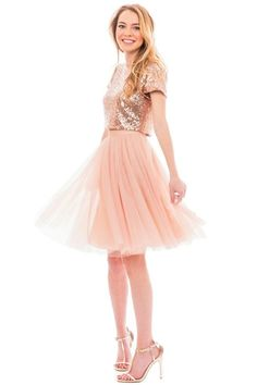 Fall in love with our trendy, affordable, and designer quality bridesmaid separates. Two Piece Bridesmaid Dresses, Sparkly Bridesmaid Dress, Bridesmaid Separates, Sequin Bridesmaid Dresses, Sequin Dress, Jupe Tulle Rose, Tulle Wedding Skirt, Wedding Dress, Wedding Reception Outfit