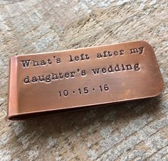 Father Of The Bride Money Clip Gift Wedding Gift For by hjvdesigns