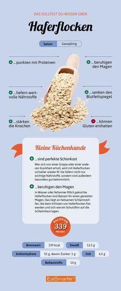 6 Gründe, warum Haferflocken gesund sind | eatsmarter.de #haferflocken #ernährung #infografik