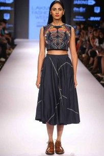 arman aimen Blue abstract embroidered crop top with blue circular skirt