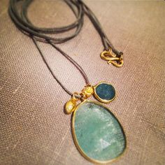 ♛ Pippa Small double stone pendant on cord, gold seed/peppercorn and aquamarine necklace @ WHITE bIRD Jewellery