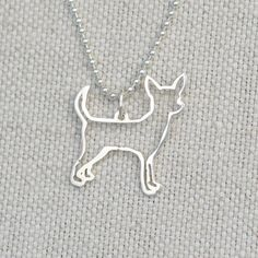 Chihuahua Necklace in Sterling Silver.