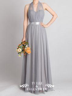 Tulle Convertible Medium Grey Multi Bridesmaid Dresses 4