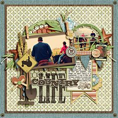 #papercraft #scrapbook #layout    Country Life Page...with garden tools & mini clothespins...Scrapbook.com.