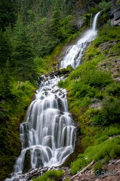 Vidae Falls, Crater Lake NP: the falls splash over a 3-stepped bluff, dropping 115' before cascading down a steep talus slope & flowing under Crater Rim Drive. by Nick Chill