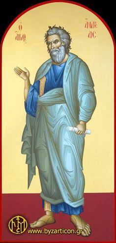 SAINT_ANDREW Byzantine Icons, Byzantine Art, Andrew The Apostle, Lives Of The Saints, Saint Matthew, St Andrews, Orthodox Icons, My Prayer, Religious Art